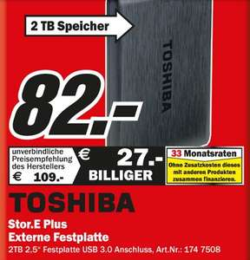 [MM Rostock]   Toshiba Stor.E Plus 2TB 2,5 Festplatte USB 3.0 82€