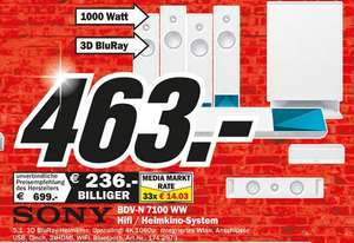[MM Rostock]  Sony BDV-N7100WW 5.1 Blu-ray Heimkinosystem (1000Watt / 4k UltraHD Upscaling / 3D / W-LAN, Bluetooth, NFC)