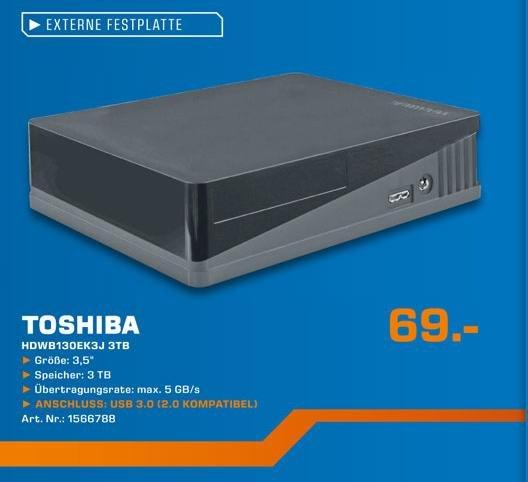 (Lokal? /Saturn PB) 3TB Toshiba HDWB130EK3J externe USB 3.0 Festplatte