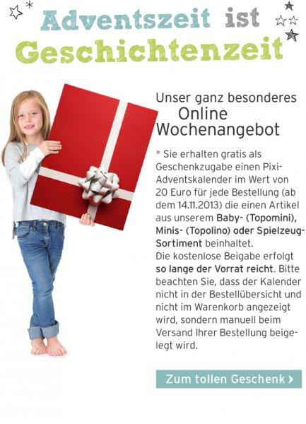 Gratis (statt 20€) Pixi-Adventskalender bei Bestellung im Ernstings-Family OnlineShop