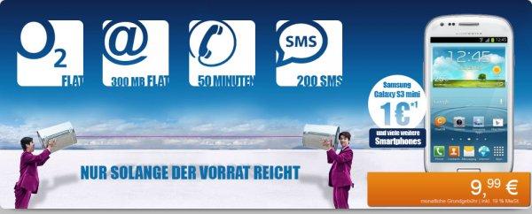 Gratis Samsung Galaxy S2 Plus oder S3 Mini mit o2 Blue Basic mit 300MB Surf-Flat für 9,99 mtl.