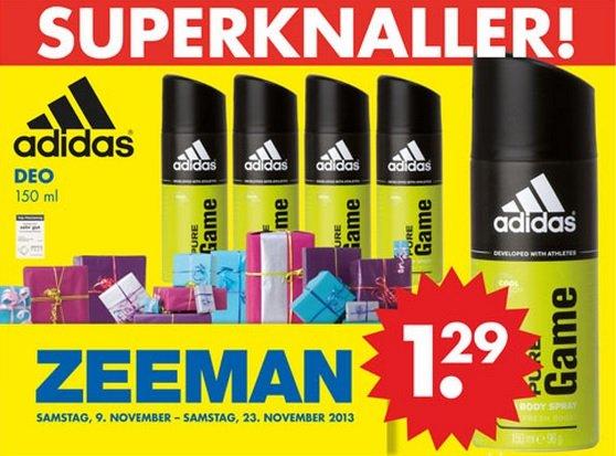 Adidas Pure Game Deo für 1,29€ bei Zeeman