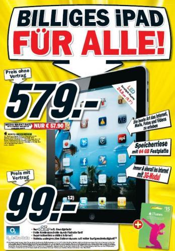 MeidaMarkt - iPAD 3G+WIFI 64 GB - 579 Euro