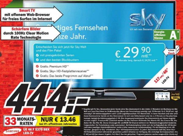 [MM Minden Porta]  Samsung UE46F5370 116 cm (46 Zoll) LED-Backlight-Fernseher, EEK A+ (Full HD, 100Hz CMR, DVB-T/C/S2, CI+, Smart TV, HbbTV) schwarz  444€