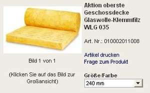 Glaswolle-Klemmfilz WLG 035 240mm
