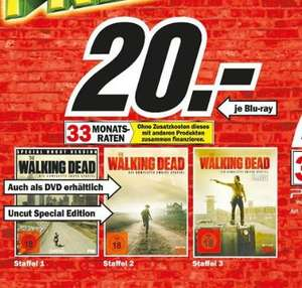 (Lokal FFM) The Walking Dead Blu-ray, Staffel 1-3, je 20 Euro @Media Markt