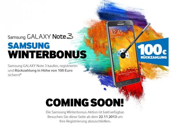 [Cashback] Samsung Galaxy Note 3 kaufen (zw. 22.11 und (Update 2) 01.12., statt nur bis 27.11.), und bis zum 10.12. registrieren: 100,00 EUR Cashback erhalten!