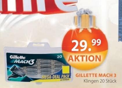 (Müller) 20 Gilette Mach3 Rasierklingen für 29,99€ + Danke Mama Set