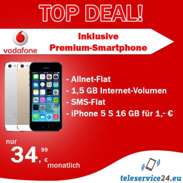 Vodafone Red M mit IPHONE 5 S 16 GB oder SAMSUNG S4 für je 1,- €