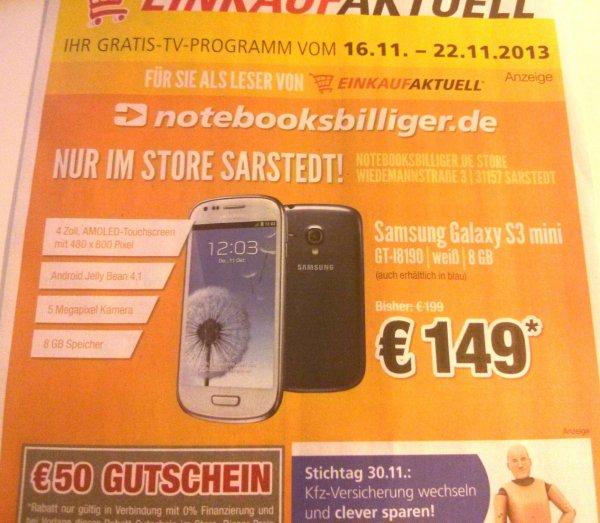 [lokal Hannover] Samsung Galaxy S3 mini 8GB für 149€ im Notebooksbilliger.de-Store