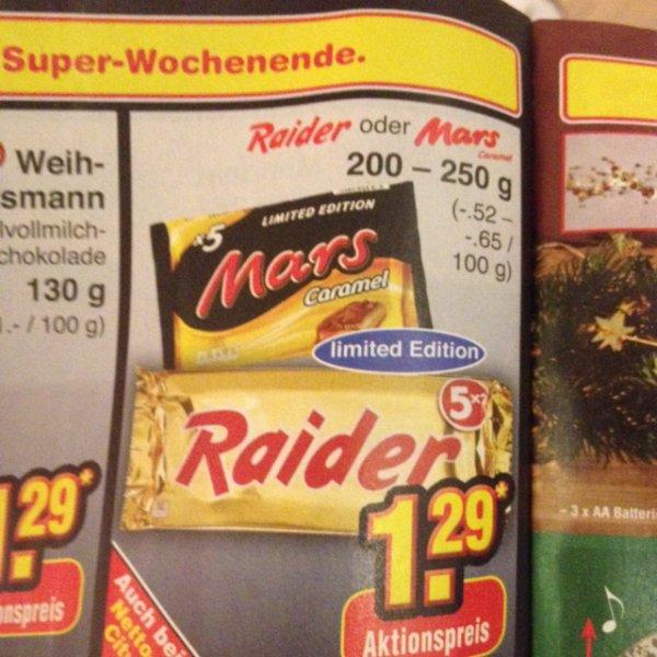 """[Offline] Im Netto Marken-Discount - 5x Raider oder Mars """"Caramel"""" - limited edt."""