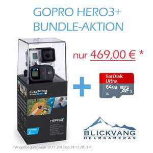 Actioncam GoPro HERO3+ Black Edition Adventure inkl. SanDisk 64 GB Micro-SD-Karte