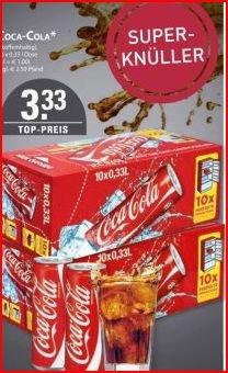 10 Dosen Cola 0,33 ltr.  3,33€ plus Pfand -- Edeka Burkowski (Essen) --