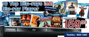 TOSHIBA Blu-ray Player BDX 1200 KE inkl. 10 Blu-ray Bestsellern für 159,99 statt 236,37 Euro (32% Ersparnis) @World of Video