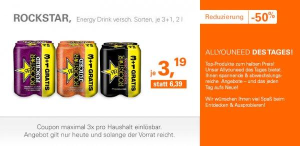 4 Dosen Rockstar Energy Drink für 3,19 (zzgl. Versand) bei allyouneed.com