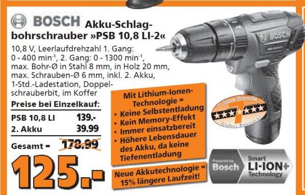 [Regional - Neustadt Weinstraße] Bosch Akku Schlag-Bohrschrauber PSB 10,8 LI-2 + 2. Akku 125€