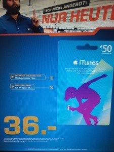 Saturn iTunes Guthaben 50€ für 36€ nur heute (19.11.)