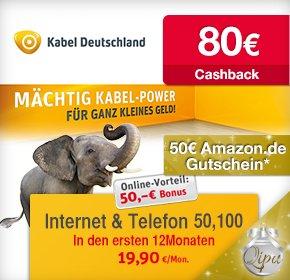 [QIPU] Kabel Deutschland Vertrag mit 80€ Cashback, 50€ Amazon und 50€ Gutschrift