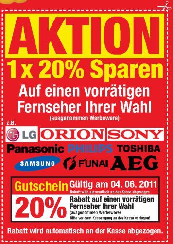 20% Rabatt auf einen vorrätigen Fernseher bei METRO! Nur Samstag 04.06.2011!