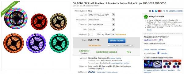 @China, Ebay: 5m RGB LED Streifen, SMD 5050, wasserdicht, 60 LEDs/m, inkl. 44 Key Controller & 12V 6A Netzteil