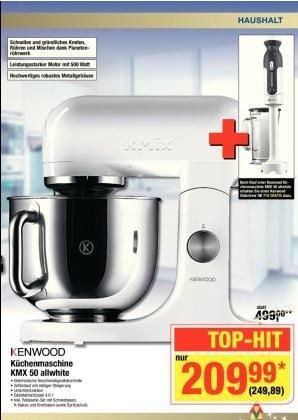 [METRO] Kenwood KMX50 Küchenmaschine + Stabmixer HB710 gratis dazu  = 249,89€