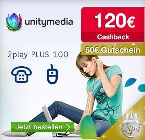 Wieder da! Unitymedia mit 120€ Cashback + 50€ Gutschein (BestChoice) + AG frei ( 30€) für 2play PLUS 100