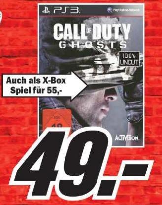 [Lokal] PS3 Call of Duty 10 - Ghosts für 49€ im Media Markt Kaiserslautern