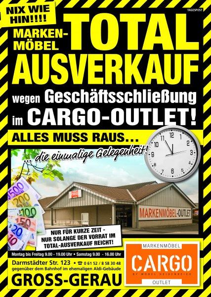 [local] bis 68,5% Räumungsverkauf Markenmöbel CARGO Gross-Gerau bei Darmstadt