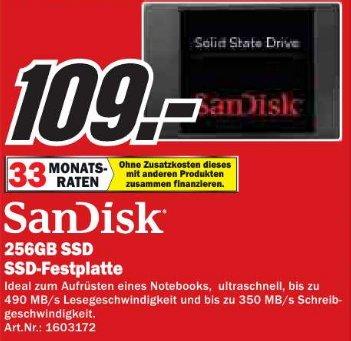 """[MM Bochum und Castrop Rauxel] SanDisk SSD Festplatte  256GB, 2.5"""", SATA 6Gb/s  für 109€"""