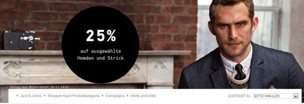25% Rabatt auf ausgewählte Hemden und Strick (Jack & Jones)