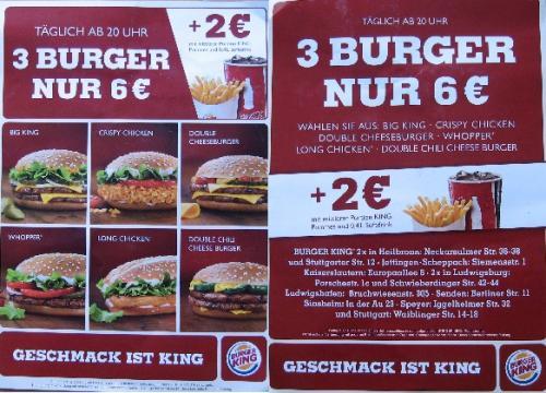 (lokal) Burger King - 3 Burger für 6€ - EDITIERT