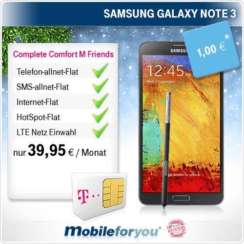 [Mobileforyou] KNALLER: Samsung Galaxy Note 3 mit Telekom T-Mobile Complete Comfort M Friends für effektiv nur 20,41€ im Monat