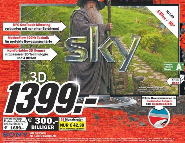Sony KDL-55W805A 400Hz/3D 1399€ Lokal[Mediamarkt Dortmund-Oespel]