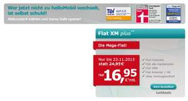 Allnet Flat + SMS + Internet 1GB Flat für 16,95€!