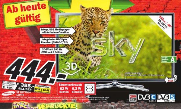 [MM  Neubrandenburg  ]  Samsung UE40F6340   3D-LED-TV, 102 cm (40 Zoll), Full HD, 200 Hz, DVB-T/-C/-S2, inkl. 2x 3D Active Shutter Brille,   444€