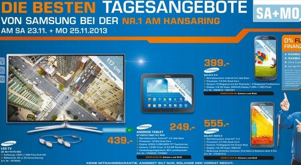 Samsung Galaxy Tab 3 10.1 Wifi 249€ & Samsung UE46F6170 439€ Lokal[Saturn Köln Hansaring]