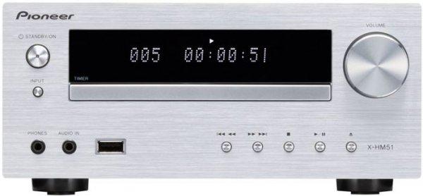 [Amazon.de]  Pioneer XC-HM51-S Micro-Hifi System (Bluetooth, FM Tuner mit RDS, USB 2.0, Aluminium-Front) silber