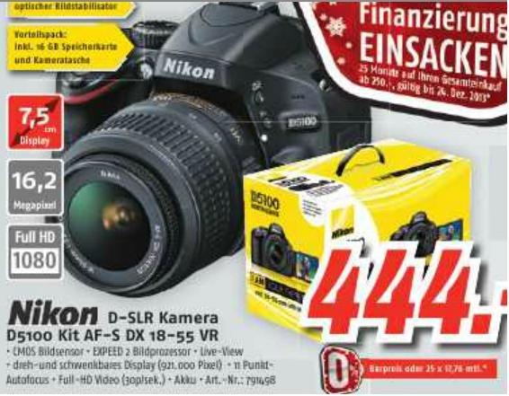 [LOKAL - MediMax] Nikon D5100 Kit 18-55mm VR mit Tasche und 16GB-SD