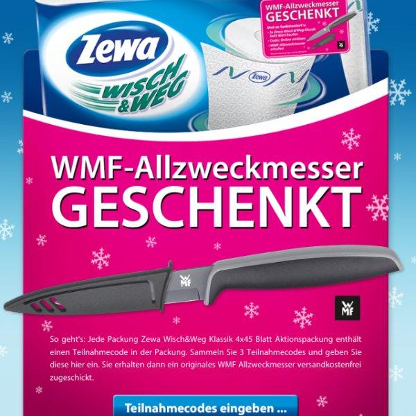 WMF Allzweckmesser gratis beim Kauf von 3x Zewa Wisch und Weg Tücher