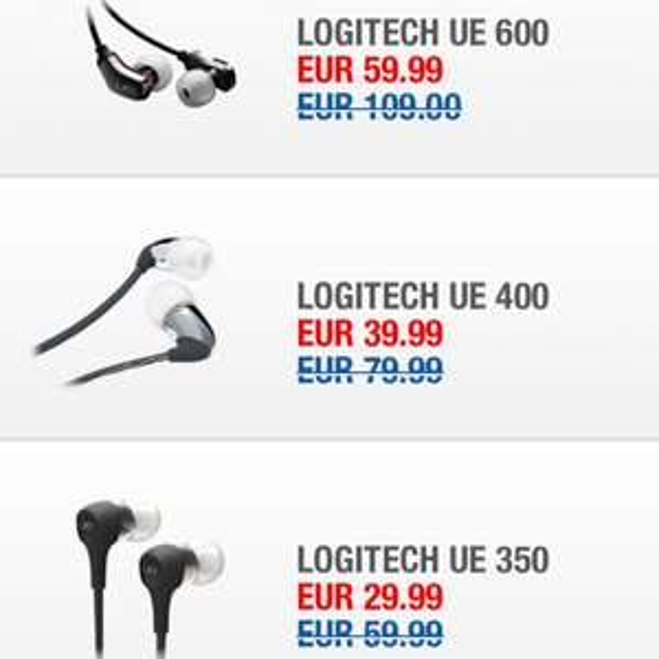 Logitech UE in-ears bis zu 50% reduziert