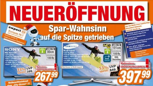 [Düsseldorf Expert] Samsung UE40F6270 397€ & Sony KDL-32R420A 268 LOKAL