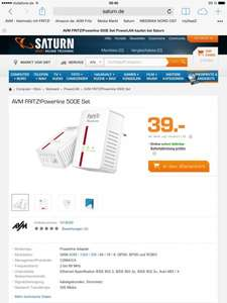 [bundesweit & online] [Saturn] FRiTZ!Powerline 500E Set für 39,- Euro