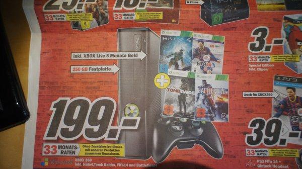 XBOX 360 inkl. Halo4, Tomb Raider, FIFA 14 und Battlefield 4 für 199€ LOKAL MM Dresden