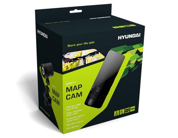 Cyber Monday Hyundai MAP-CAM Sportkamera inkl. GPS Tracker, Fahrradhalterung, Helmhalterung und Software für Google Maps Ansicht schwarz für 55€ (idealo 91,79€)