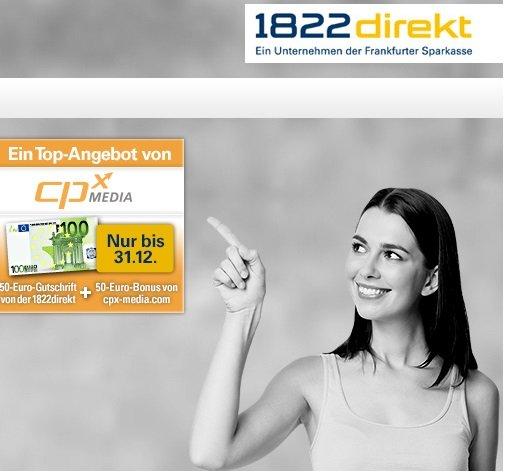100€ statt 50€ für ein Girokonto bei der 1822direkt