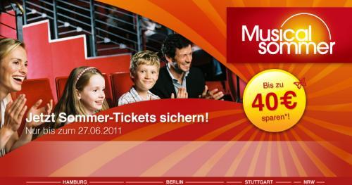 Musical Sommer bei Stage - Bis zu 40 Euro auf Musicals sparen