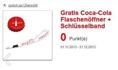 Coca Cola Flaschenöffner und Schlüsselband gratis + Gewinnspiel mit 600 Preisen wöchentlich