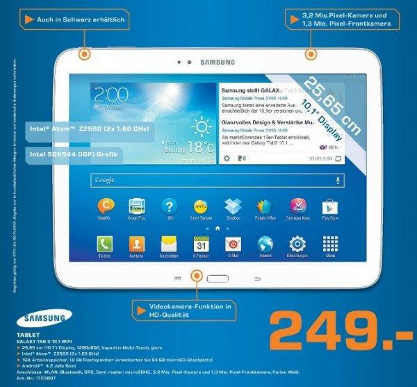 Samsung Galaxy Tab 3 10.1 16GB 249€ Lokal [Saturn Hannover&Isernhagen]