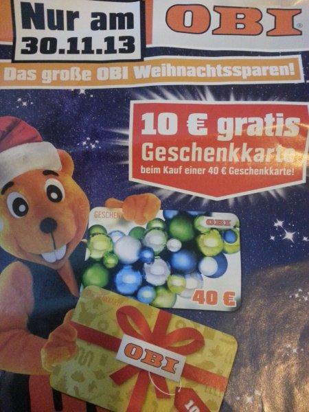 Obi kaufe 40 € Gutschein und bekomme 10 € gratis Gutschein