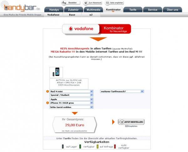 Vodafone RED M Student-Junge Leute Vertrag zu 34,99 / Monat mit Apple iPhone 5S zu einmalig 29,-